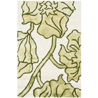 Safavieh Handmade Dip Dye Watercolor Vintage Ivory/ Light Green Wool Rug - 3' x 5'