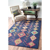 The Curated Nomad Escolta Handmade Moroccan Triangle Navy Area Rug (4' x 6')