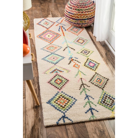The Curated Nomad Handmade Moroccan Triangle Tan Runner Area Rug - 2'6 x 8'