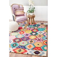 "nuLOOM Handmade Southwestern Abstract Honeycomb Multi Rug (7'6 x 9'6) - 7'6"" x 9'6"""