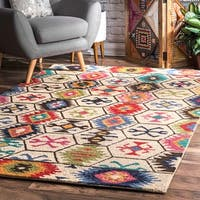 nuLOOM Handmade Southwestern Abstract Honeycomb Cream Rug - 7'6 x 9'6