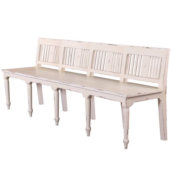 Somette Hand Crafted Weathered White 7 Foot Counter Height