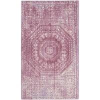 Safavieh Valencia Fuchsia/ Cream Center Medallion Distressed Silky Polyester Rug - 3' x 5'