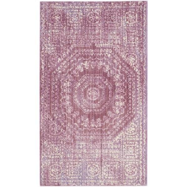 Safavieh Valencia Fuchsia/ Cream Center Medallion Distressed Silky Polyester Rug (3' x 5')