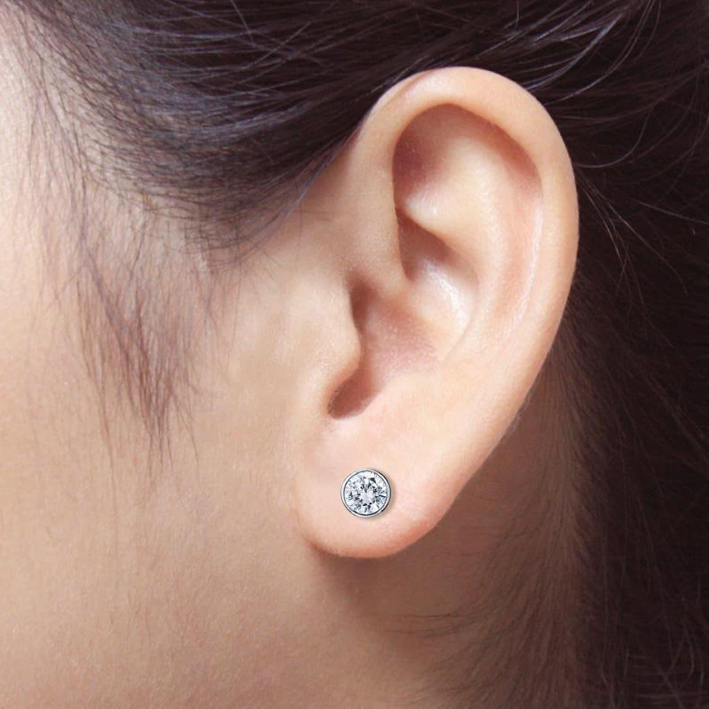 Auriya Platinum 1ctw Bezel Set Round Diamond Stud Earrings