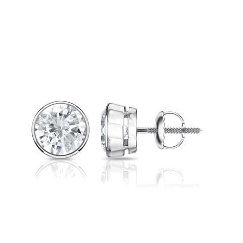 Auriya Round Diamond Stud Earrings 1 carat TW Bezel Set Platinum