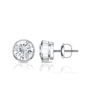 Auriya Platinum 1ct TDW Bezel Screw-Back Round Diamond Stud Earrings (J-K, SI2-SI3)