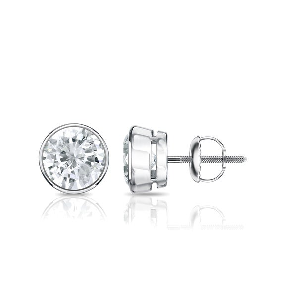 Platinum Round 1ct Tdw Bezel Set Diamond Stud Earrings By Auriya White J K