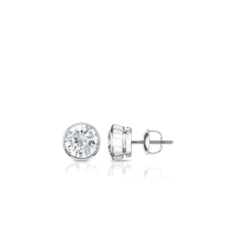 Auriya Platinum 1/4ct TDW Round Bezel-Set Diamond Stud Earrings