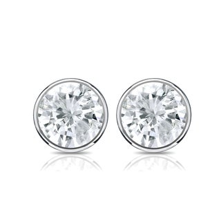 Auriya 18k Gold 1ct TDW Bezel Screw-Back Round Diamond Stud Earrings (J-K, SI2-SI3)