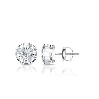 18K Gold Round 3/4ct TDW Bezel Set Diamond Stud Earrings by Auriya - White J-K