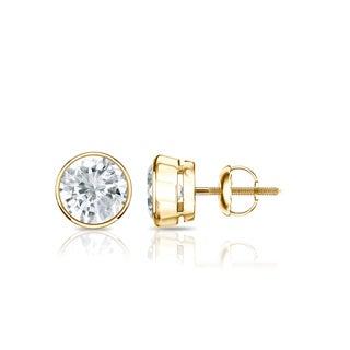 Auriya 14k Gold 3/4ct TDW Bezel Screw-Back Round Diamond Stud Earrings (J-K, SI2-SI3)