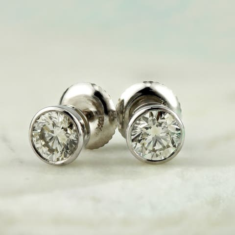Auriya 14k Gold 0.75ctw Round Bezel-set Diamond Stud Earrings