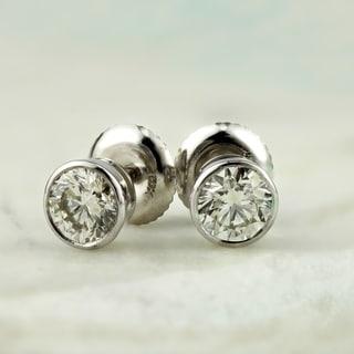Auriya 14k Gold 0.75ctw Round Bezel-set Diamond Stud Earrings
