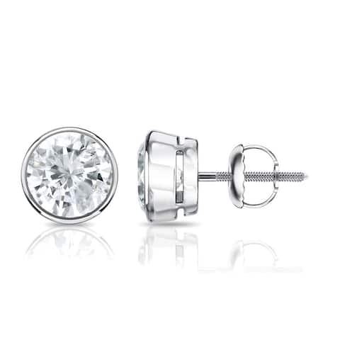 Auriya 14k Gold 0.50ctw Round Bezel-set Diamond Stud Earrings