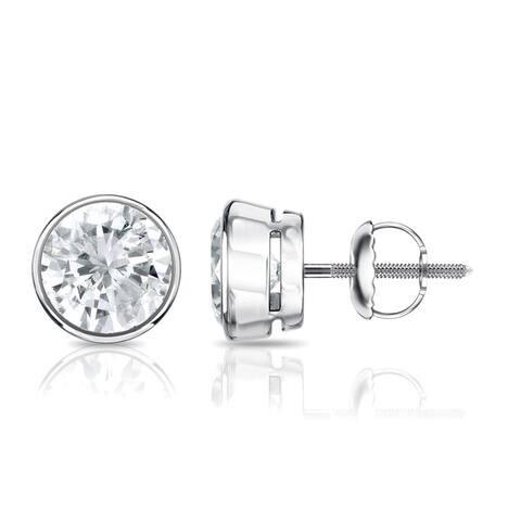 Auriya 14k Gold 0.50ctw Round Bezel-set Diamond Stud Earrings