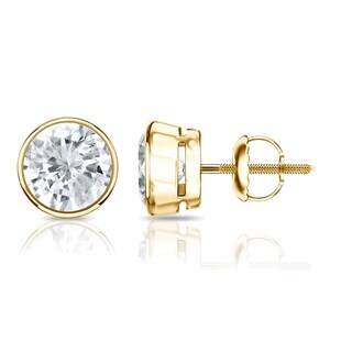 Auriya 14k Gold 1/2ct TDW Diamond Solitaire Bezel Stud Earrings (2 options available)