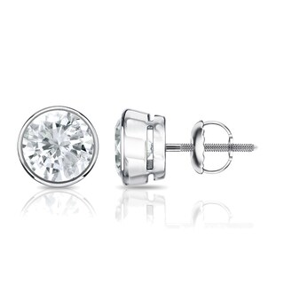Auriya 14k Gold 1/2ct TDW Diamond Solitaire Bezel Stud Earrings (2 options available)