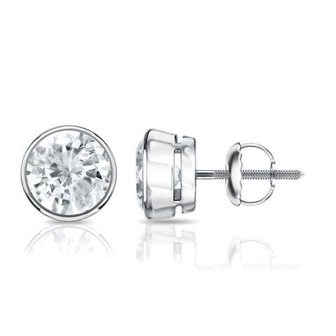 Auriya 14k Gold 1/2ct TDW Diamond Solitaire Bezel Stud Earrings
