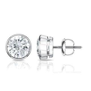 Auriya 14k Gold 1/2ct TDW Diamond Stud Bezel-Set Earrings
