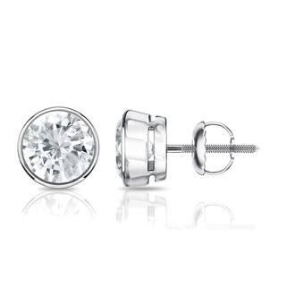 Auriya 14k Gold 1/2ct TDW Diamond Solitaire Bezel Stud Earrings