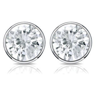 Auriya 14k Gold 1/3ct TDW Bezel Screw-Back Round Diamond Stud Earrings (J-K, SI2-SI3)