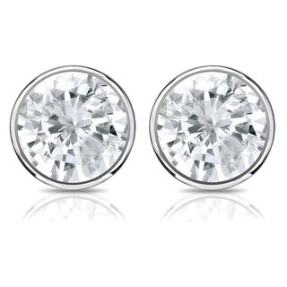 14K Gold Round 1/3ct TDW Bezel Set Diamond Stud Earrings by Auriya - White J-K