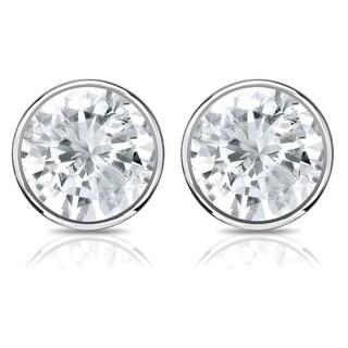 Auriya 14k Gold 1/3ct TDW Bezel Screw-Back Round Diamond Stud Earrings (J-K, SI2-SI3)