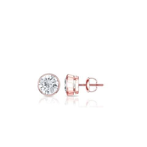 Auriya 14k Gold 0.25ctw Round Bezel-set Diamond Stud Earrings