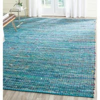 Safavieh Handmade Nantucket Blue Multicolored Cotton Rug - 4' x 6'