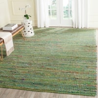 Safavieh Handmade Nantucket Green Multicolored Cotton Rug - 4' x 6'