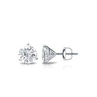 Auriya Platinum 3/5ct TDW 3-Prong Screw-Back Round Diamond Stud Earrings (J-K, SI2-SI3)
