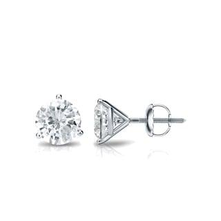 Auriya 18k Gold 3/4ct TDW 3-Prong Screw-Back Round Diamond Stud Earrings (J-K, SI2-SI3)