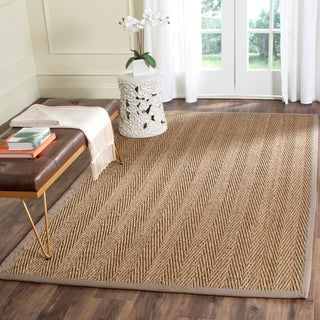 Safavieh Casual Natural Fiber Natural / Grey Seagrass Area Rug (4' x 6')