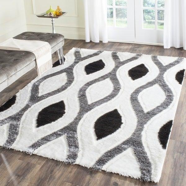 Safavieh Miami Shag Contemporary Silken-Embossed Ogee Ivory/ Grey Shag Rug (4' x 6')