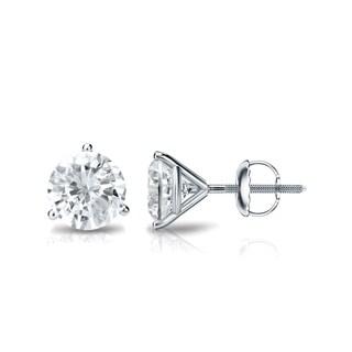 14k Gold 1ct TDW 3 Prong Martini Round Diamond Stud Earrings by Auriya - White J-K