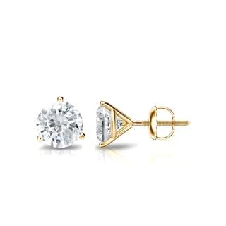 Auriya 14k Gold 3/4ct TDW 3-Prong Screw-Back Round Diamond Stud Earrings (J-K, SI2-SI3)