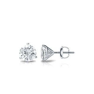 14k Gold 1/2ct TDW 3 Prong Martini Round Diamond Stud Earrings by Auriya - White J-K