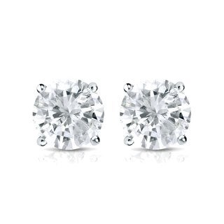 Auriya Platinum 1ct TDW 4-Prong Screw-Back Round Diamond Stud Earrings (J-K, SI2-SI3)