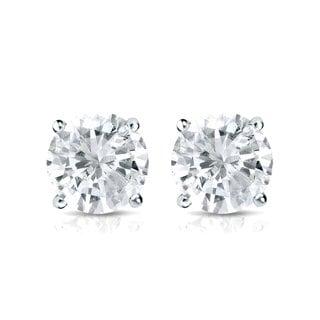 Auriya Platinum 1ct TDW 4-Prong Screw-Back Round Diamond Stud Earrings (J-K, SI2-SI3)