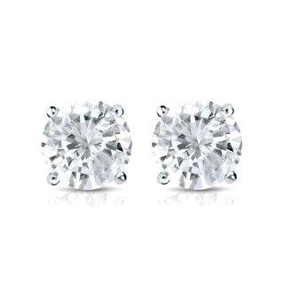 Auriya Platinum 1ct TDW Round Diamond Soltiaire Stud Earrings