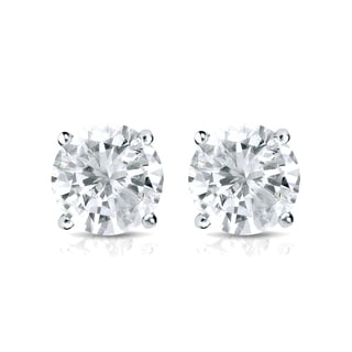 Auriya 18k Gold 1ct TDW 4-Prong Screw-Back Round Diamond Stud Earrings (J-K, SI2-SI3)
