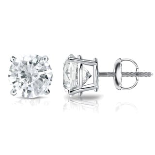 Auriya 18k Gold 3/4ct TDW 4-Prong Screw-Back Round Diamond Stud Earrings (J-K, SI2-SI3)