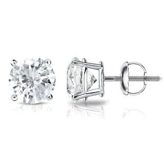 Auriya 18k Gold 3/4ct TDW 4-Prong Screw-Back Round Diamond Stud Earrings (J-K, SI2-SI3)