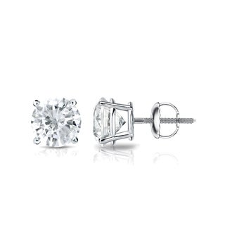 Auriya 14k Gold 1ct TDW 4-Prong Screw-Back Round Diamond Stud Earrings (J-K, SI2-SI3)