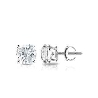 Auriya 14k Gold 3/4ct TDW 4-Prong Screw-Back Round Diamond Stud Earrings (J-K, SI2-SI3)