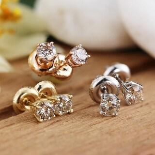 14k Gold Round 1 2ct Tdw Diamond Stud Earrings By Auriya White J K