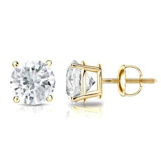 Auriya 14k Gold 1/2ct TDW 4-Prong Screw-Back Round Diamond Stud Earrings (J-K, SI2-SI3)