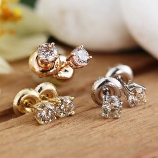 Auriya 14k Gold 1 2ct TDW Round Diamond Solitaire Stud Earrings. Clearance at Overstock com
