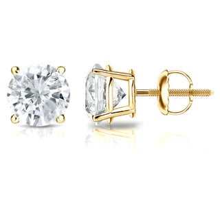 14k Gold 1/4ct TDW Round Solitaire Diamond Stud Earrings by Auriya - White J-K